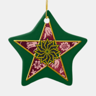 Pentagram - Gold & Red on Green Ceramic Ornament