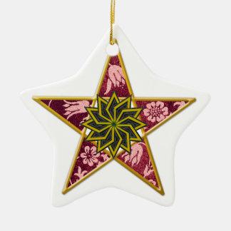 Pentagram - Gold & Red on White Ceramic Star Ornament