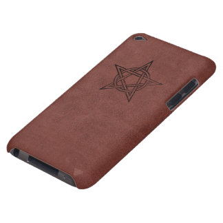 Pentagram - Pagan Magic Symbol on Red Leather iPod Touch Case-Mate Case