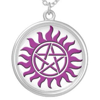 pentagram purple silver plated necklace