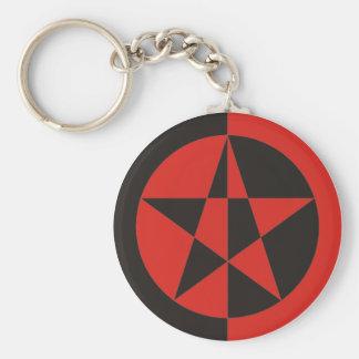 Pentagram red black keychain
