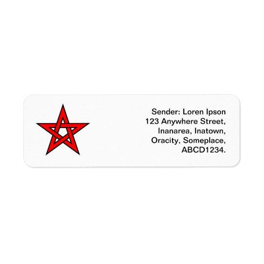 Pentagram - Red Return Address Label