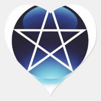 Pentagram- Religious symbol of satanism Heart Sticker