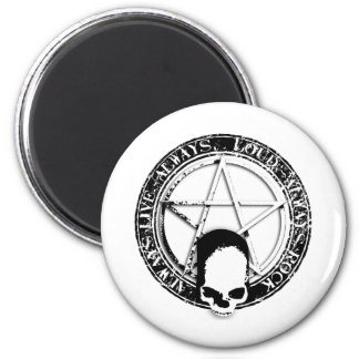 pentagram rock and roll skull wings 2 inch round magnet