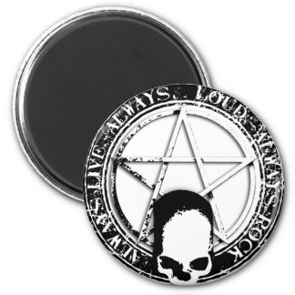 pentagram rock and roll skull wings magnet