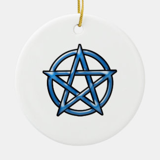 Pentagram Round Ceramic Ornament