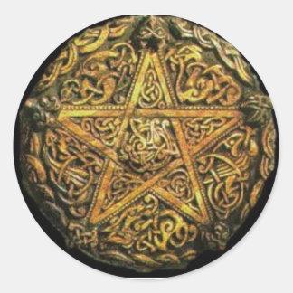 pentagram round sticker