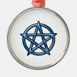 Pentagram Silver-Colored Round Ornament