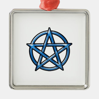 Pentagram Silver-Colored Square Ornament