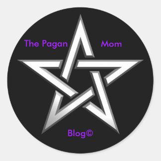 pentagram-star, The Pagan , Mom, Blog© Round Sticker