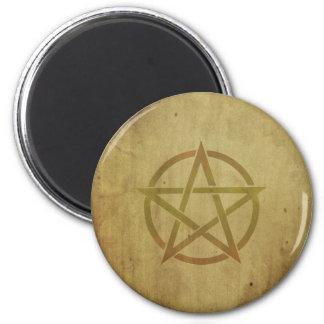 Pentagram Textured 2 Inch Round Magnet