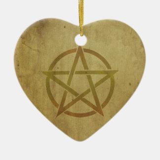 Pentagram Textured Ceramic Heart Ornament