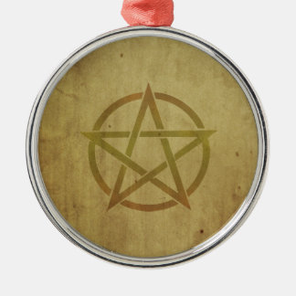 Pentagram Textured Silver-Colored Round Ornament