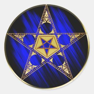 Pentagram With Upside Down Star Classic Round Sticker