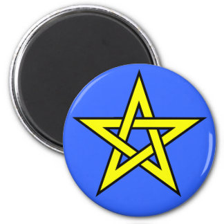 Pentagram Yellow on Blue Magnet