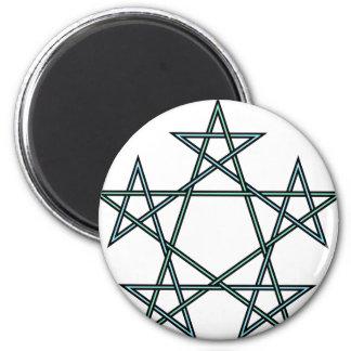 Pentagrams-interlaced-pattern 2 Inch Round Magnet