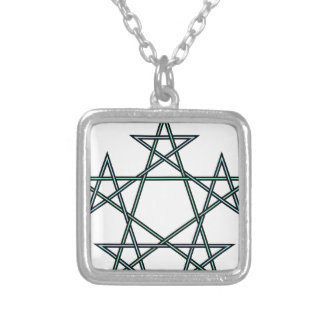 Pentagrams-interlaced-pattern Silver Plated Necklace