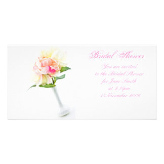 Peonie in Vase - Bridal Shower Invitation Photo Card Template
