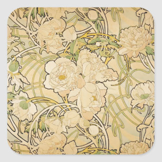 Peonies 1897 square sticker