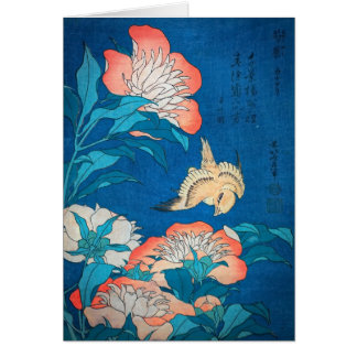 Peonies and Canary Japanese Art by Hokusai Card