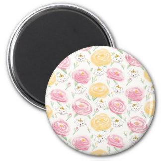 Peonies and Princesses 2 Inch Round Magnet