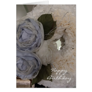 Peonies and Wreath Birthday Card