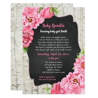 Peonies + Birch baby sprinkle + diaper raffle Card