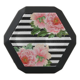 peonies black stripes black bluetooth speaker