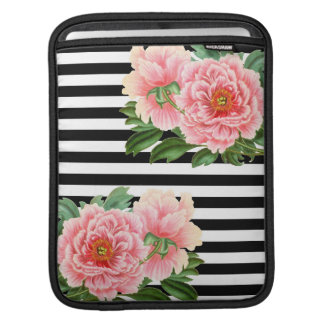 peonies black stripes iPad sleeve