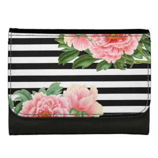 peonies black stripes wallet for women