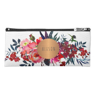 Peonies bouquet copper geometric trendy your name pencil case