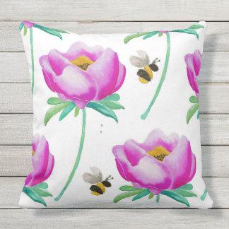 Peonies & Bumble Bees Throw Pillow