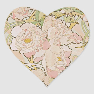 Peonies by Alphonse Mucha Heart Sticker