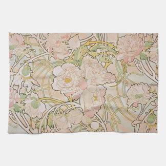 Peonies by Alphonse Mucha Kitchen Towel
