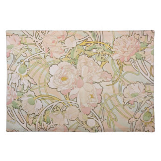 Peonies by Alphonse Mucha Placemat