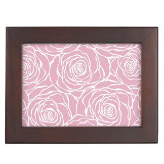 Peonies,floral,white,pink,pattern,girly,modern,bea Keepsake Box
