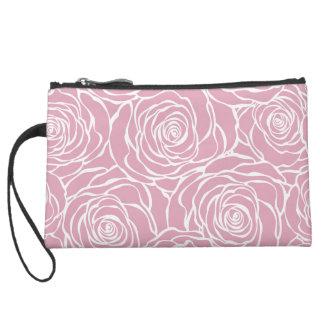 Peonies,floral,white,pink,pattern,girly,modern,bea Suede Wristlet
