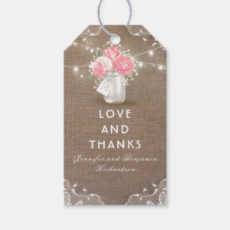 Peonies Mason Jar Rustic Burlap Wedding Gift Tags