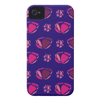 PEONIES ON BLUE  FOLK Case-Mate iPhone 4 CASES