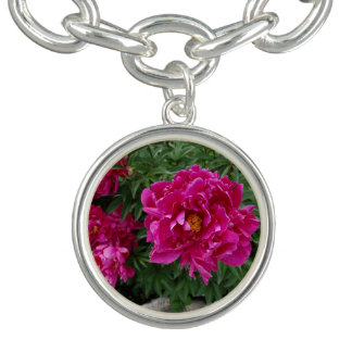 Peonies Round Charm Bracelet, Silver Plated