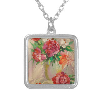 Peonies Silver Plated Necklace