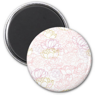 Peonies touch of gold 2 inch round magnet