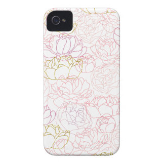 Peonies touch of gold iPhone 4 Case-Mate cases