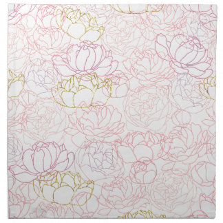 Peonies touch of gold napkin