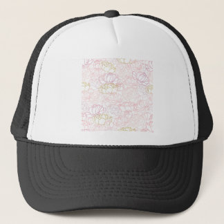 Peonies touch of gold trucker hat