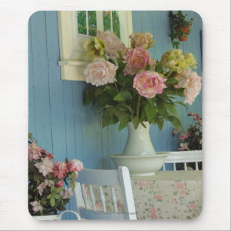 Peonies, Vase and Table, Martha's Vineyard Cottage Mouse Pad