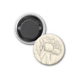 Peony 1 Inch Round Magnet