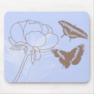 Peony and Butterflies Mousepad