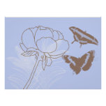 Peony and Butterflies Poster