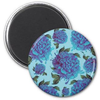 Peony Blues 2 Inch Round Magnet